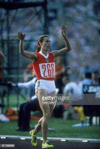 Soviet athlete Tatyana Kazankina wins the women's 1500 metres at the Lenin Stadium during the Moscow Summer Olympics July 1980