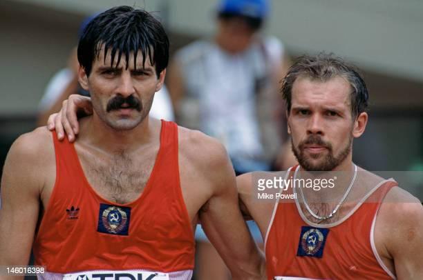 Soviet athletes Aleksandr Potashov and Andrey Perlov at the Men's 50km walk at the World Championships in Athletics at the Olympic Stadium in Tokyo...
