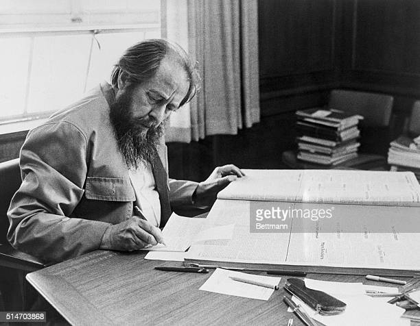A Soviet author Alexandr Solzhenitsyn takes notes at Stanford University's Hoover Tower library He won the Nobel Prize for Literature for his...