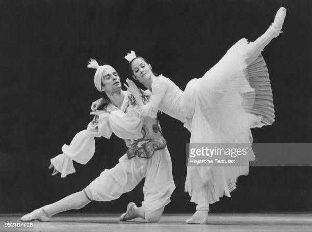 Soviet ballet dancer Rudolf Nureyev and Noella Pontois in 'Le Bourgeois Gentilhomme' at the Paris Opera December 1979 The comic ballet by Molière was...
