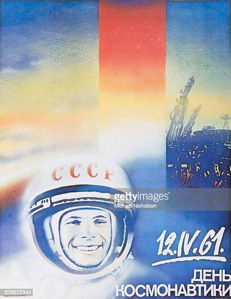 Soviet commemorative poster celebrating the first manned space flight when on the 12th April 1961 the cosmonaut Yuri Gagarin became the first human...