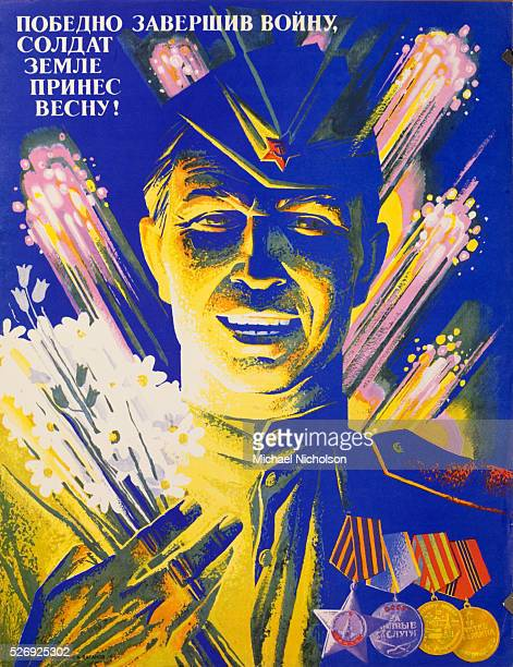 Soviet commemorative propaganda poster The slogan is Having won the war the soldier has brought spring to the land The poster depicts a soldier who...