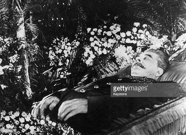 Soviet Communist leader Joseph Stalin lying in state in the hall of Trade Union House Moscow