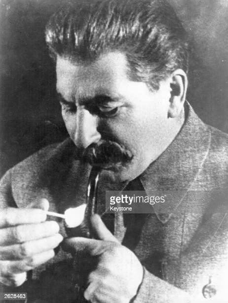 Soviet Communist leader Joseph Stalin smoking a pipe