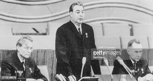 Soviet Communist Party chief Leonid I Brezhnev flanked by Soviet Premier Alexei Kosygin and Central Committee Secretary Mikhail Suslov opens the 23rd...