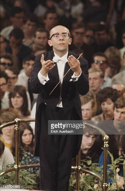 Soviet conductor Gennady Rozhdestvensky conducting the Tchaikovsky Symphony Orchestra of Moscow Radio at the London Promenade Concerts, or Proms, at...