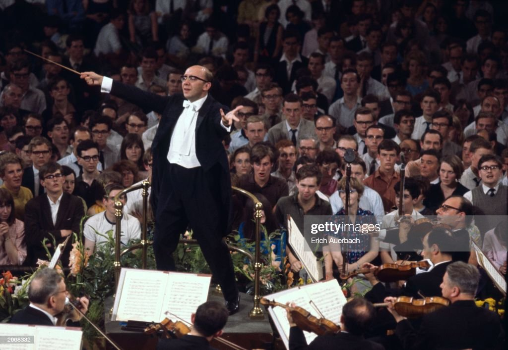 Soviet conductor Gennady Rozhdestvensky (1931 - 2018) conducting the Tchaikovsky Symphony Orchestra of Moscow Radio at the London Promenade Concerts, or Proms, at the Royal Albert Hall, London, 18th August 1966. This was the first appearance by a non-British orchestra at the proms. The concert comprised works by Britten, Shostakovich and Tchaikovsky.