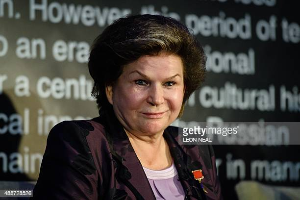 Soviet cosmonaut Dr Valentina Tereshkova speaks to members of the media in London on September 17 at a press preview for the Science Museum's latest...
