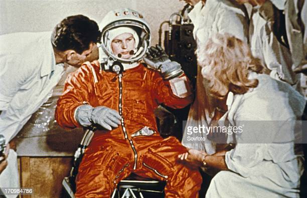 Soviet cosmonaut valentina tereshkova first woman in space during preparations for here flight on vostok 6 ussr june 16 1963