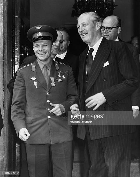 Soviet cosmonaut Yury Gagarin and British Prime Minister Harold MacMillan