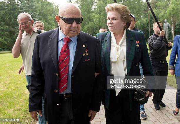 Soviet cosmonauts the first woman in space Valentina Tereshkova and the first man to make a space walk Alexei Leonov walk in Star City outside Moscow...