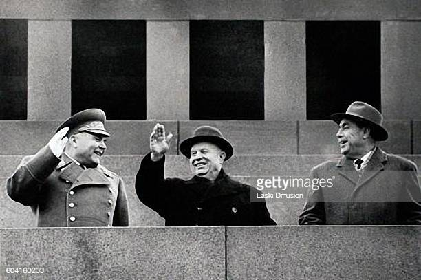 Soviet defence minister Rodion Malinowsky leader of the Soviet Union Nikita Khrushchev and Leonid Brezhnev in Moscow USSR on 30th November 1962