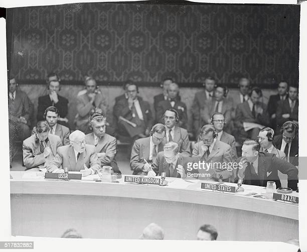 Soviet delegate to the UN Andrei Vishinsky left is shown as he voiced Russia's objection to the US demand for a UN security council discussion of the...