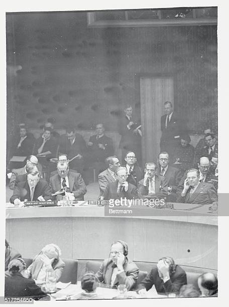 Soviet delegate to the United Nations Arkady A Sobolev reads his speech to the UN Security Council demanding that the council vote separately on each...