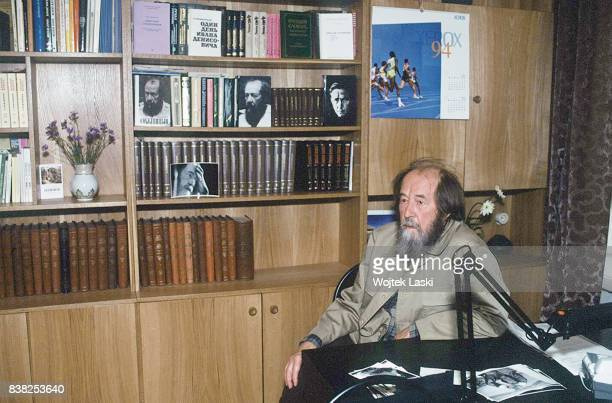 Soviet dissident novelist and Nobel Prize winner Aleksandr Solzhenitsyn at home in Moscow Russia