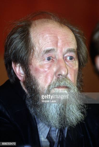 Soviet dissident novelist and Nobel Prize winner Aleksandr Solzhenitsyn during his journey across Russia A press conference in Magadan Russian Far...