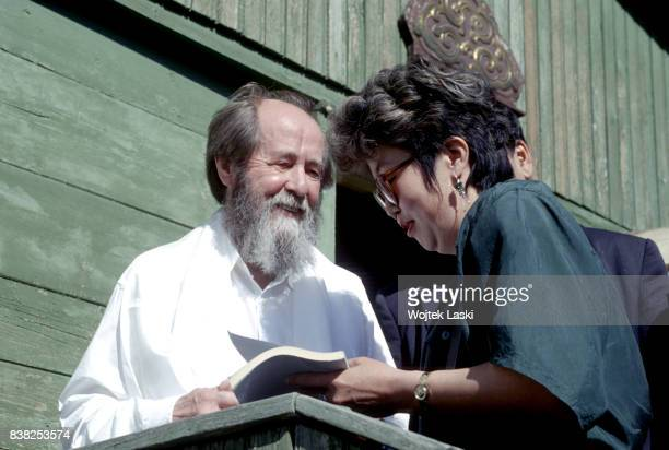 Soviet dissident novelist and Nobel Prize winner Aleksandr Solzhenitsyn during his journey across Russia Ulan Ude Republic of Buryatia Russian Far...