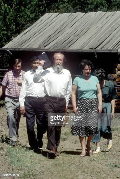 Soviet dissident novelist and Nobel Prize winner Aleksandr Solzhenitsyn during his journey across Russia Ulan Ude Republic of Buryatia Russian Far...