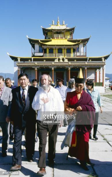 Soviet dissident novelist and Nobel Prize winner Aleksandr Solzhenitsyn during his journey across Russia A visit in a Buddhist temple in Ulan Ude...