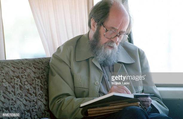 Soviet dissident novelist and Nobel Prize winner Aleksandr Solzhenitsyn takes some during his journey across Russia Vladivostok Russia