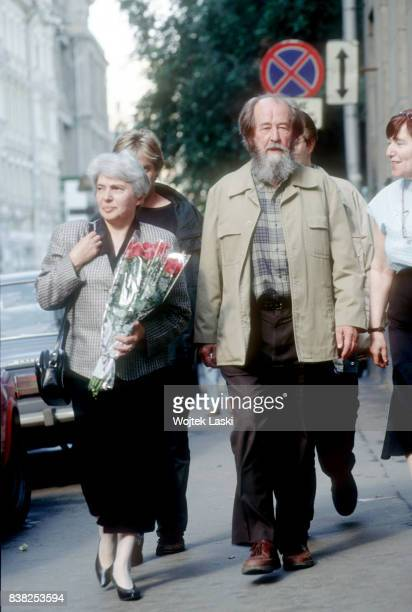 Soviet dissident novelist and Nobel Prize winner Aleksandr Solzhenitsyn with his wife Natalia Solzhenitsyna in Moscow Russia