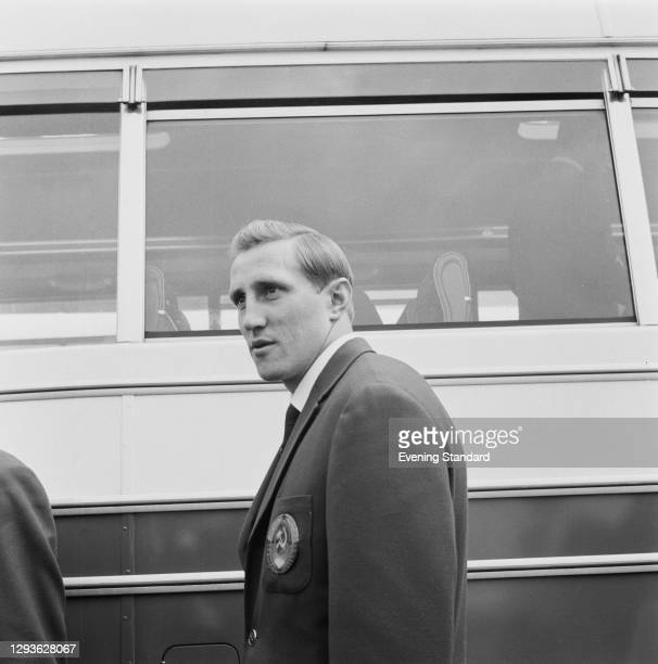 Soviet footballer Albert Shesternyov of the Soviet Union football squad arrives in the UK for the 1966 World Cup, 7th July 1966.