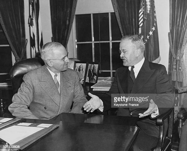 Soviet Foreign Commissar Molotov And American President Truman Meeting At White House In Washington On November 1946
