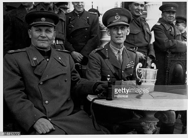 Soviet General Ivan Konev marshal of the Soviet Union and an unidentified military officer ca 1944