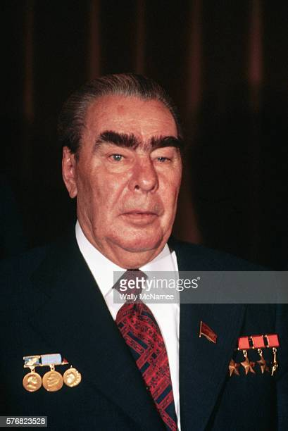 Soviet General Secretary Leonid Brezhnev wears medals on his suit during a signing ceremony at a summit in Vienna