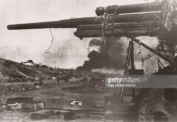 Soviet gun on the Volga Embankment, Stalingrad, 1942. Gelatin silver print. A photograph taken during the siege of Stalingrad, Russia, in the Second...