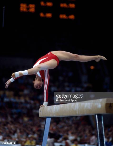 Soviet gymnast Natalia Shaposhnikova pictured in action for the Soviet Union team to win the bronze medal on the balance beam during competition in...