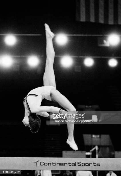 Soviet gymnast Nellie Kim on the balance beam during the Champions All Show at the Wembley Arena on April 14 1978 in London England