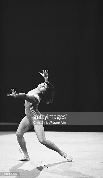 Soviet gymnast Nellie Kim pictured in action on a floor exercise during a Russian gymnastic team exhibition event at Wembley Arena in London on 11th...
