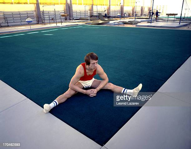 Soviet gymnast Nikolai Yefimovich Andrianov , seven time Olympic champion, in training, Moscow, 1980.
