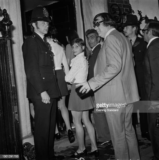 Soviet gymnast Olga Korbut visits 10 Downing Street in London, UK, with the rest of the Soviet gymnastics team, 7th May 1973. They are in the UK to...
