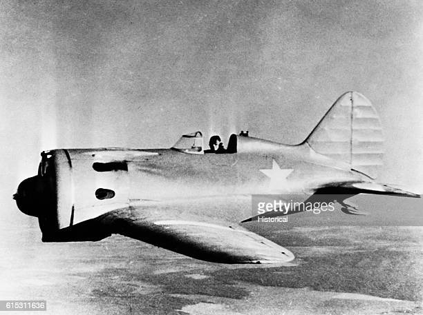 A Soviet I16 fighter plane in flight 1940s   Location over the USSR