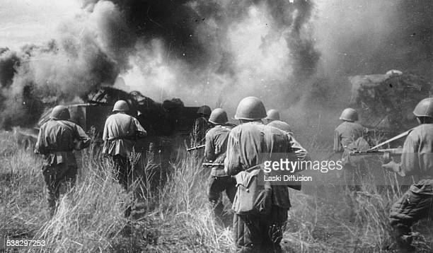 Soviet infantry in combat during the Battle of Kursk in 1943 in Russia It was World War II battle between German and Soviet forces on the Eastern...