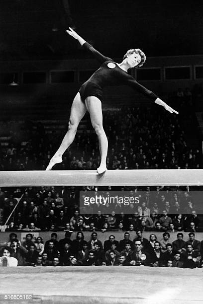 Soviet Larissa Latynina performs her routine on the beam during the Olympic Games in Melbourne December 1956 Larissa Latynina who finished fourth in...