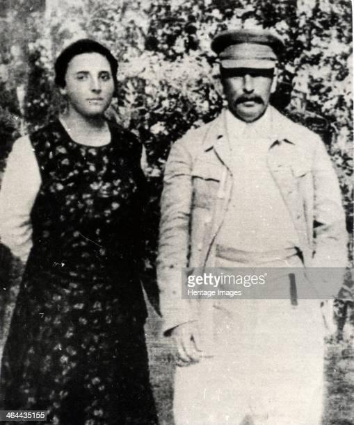 Soviet leader Josef Stalin with his second wife Nadezhda Alliluyeva, late 1920s. Nadezhda Alliluyeva married Stalin in 1919. Her death was officially...