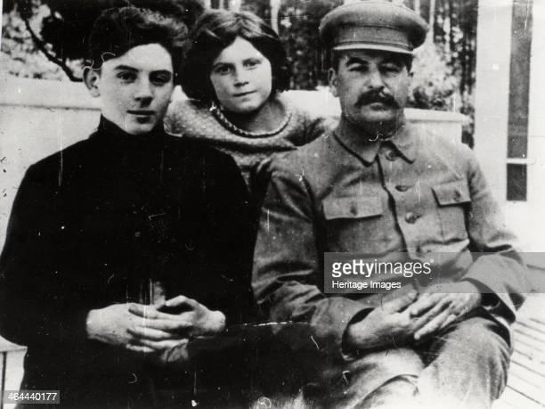 Soviet leader Josef Stalin with his son Vasily and daughter Svetlana 1930s Vasily Iosifovich Dzhugashvili and < Name not Found > were the children of...