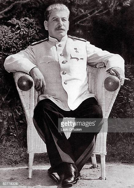 Soviet leader Joseph Stalin born Josef Vissarionovich Dzugashvili attending the Potsdam Conference at Cecilienhof Palace near Berlin where the 'Big...