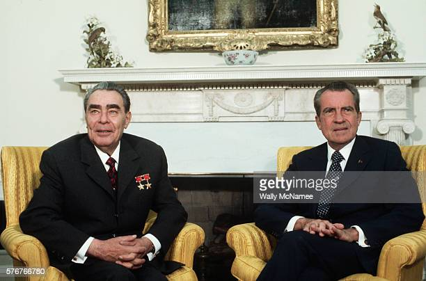 Soviet leader Leonid Brezhnev and President Richard Nixon sit in the Oval Office during the 1973 USUSSR summit