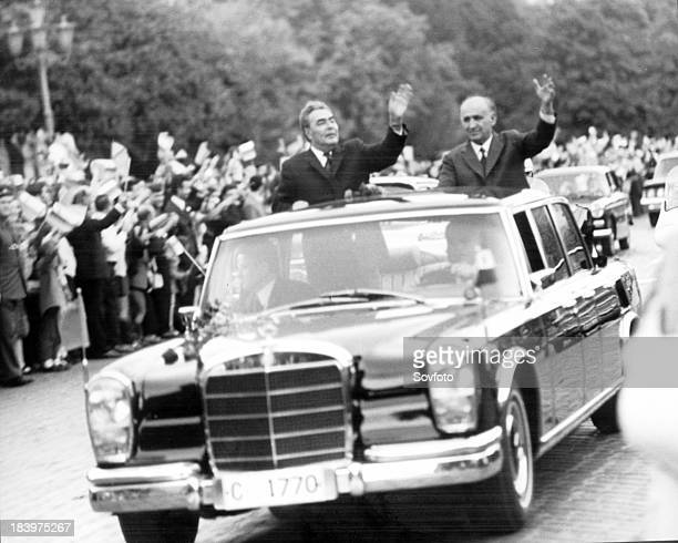 Soviet Leader Leonid Brezhnev In Motorcade Through Sofia With Bulgarian Communist Leader Todor Zhivkov During A State Visit 1970