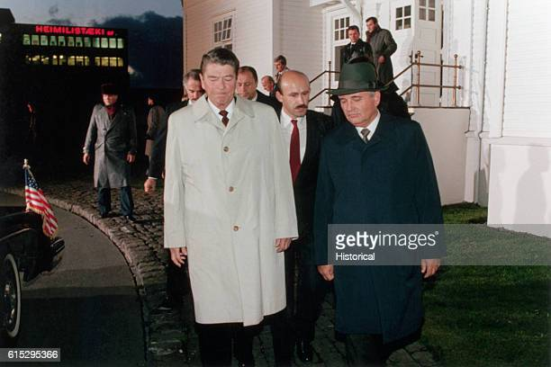 Soviet Leader Mikhail Gorbachev and President Ronald Reagan at the Iceland Summit.
