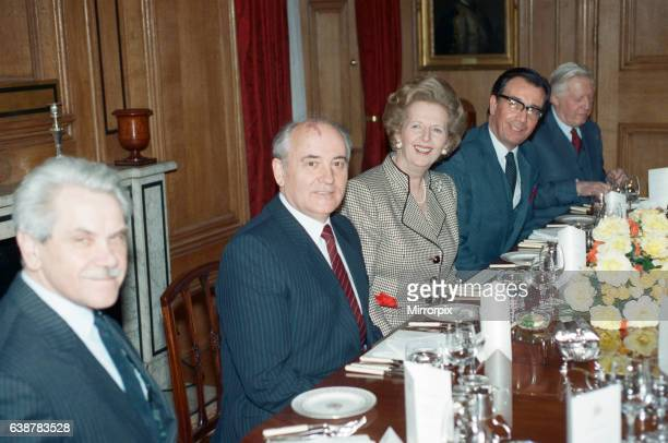 Soviet leader Mikhail Gorbachev at No 10 Downing Street with Prime Minister Margaret Thatcher. 6th April 1989.
