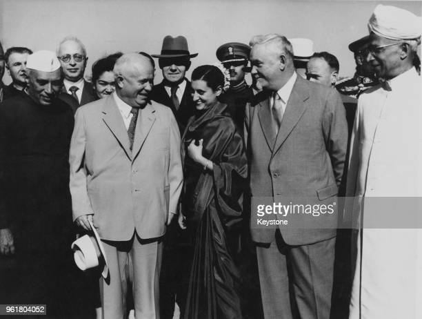 Soviet leaders Marshal Bulganin and Nikita Khrushchev arrive at Delhi Airport for a short tour of India and Burma November 1955 From left to right...