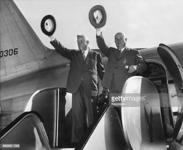 Soviet leaders Nikolai Bulganin and Nikita Khrushchev leave Palam Airport in New Delhi India on their way to Afghanistan during their tour of Asia...