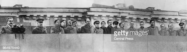 Soviet leaders Vyacheslav Molotov Joseph Stalin Georgy Malenkov Popov Lavrentiy Beria Nikolai Voznesensky Lazar Kaganovich Kliment Voroshilov...