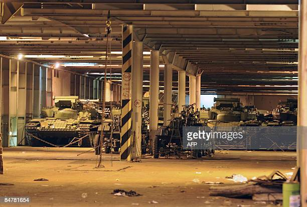 Soviet made T72 tanks sit in the hull of the Belize flagged MV Faina on February 13 2009 at the Mombasa harbour where it has been berthed for the...