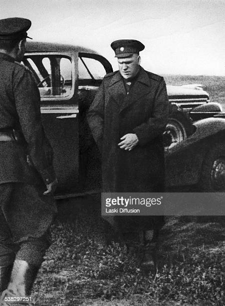 Soviet marshal Georgy Zhukov during the Battle of Kursk in 1943 in Russia The battle was World War II combat between German and Soviet forces on the...